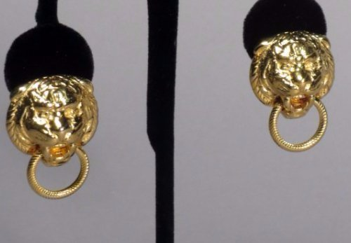 1 Pair 14k Gold Italian Lions Head Earrings