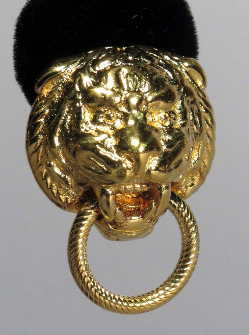 1 Pair 14k Gold Italian Lions Head Earrings - 2