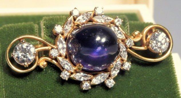 Antique 14K Gold, Blue Star Sapphire & Old European
