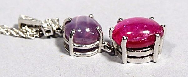 Beautiful Star Ruby & Star Sapphire Pendant Necklace in - 2