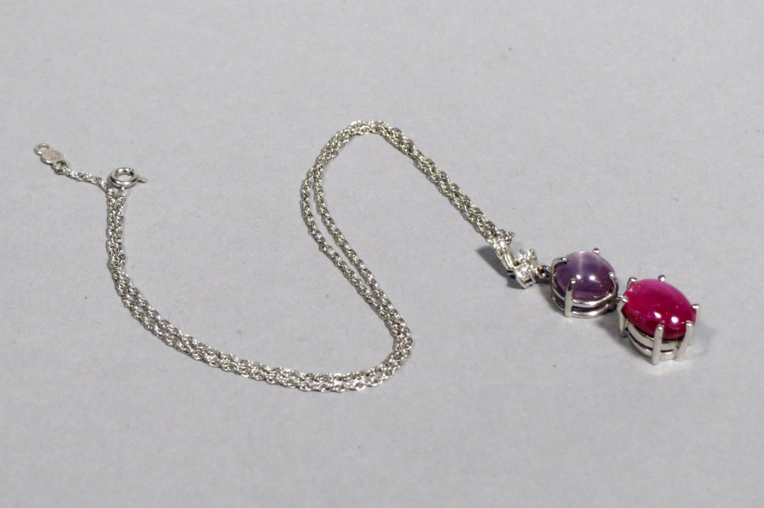 Beautiful Star Ruby & Star Sapphire Pendant Necklace in - 4
