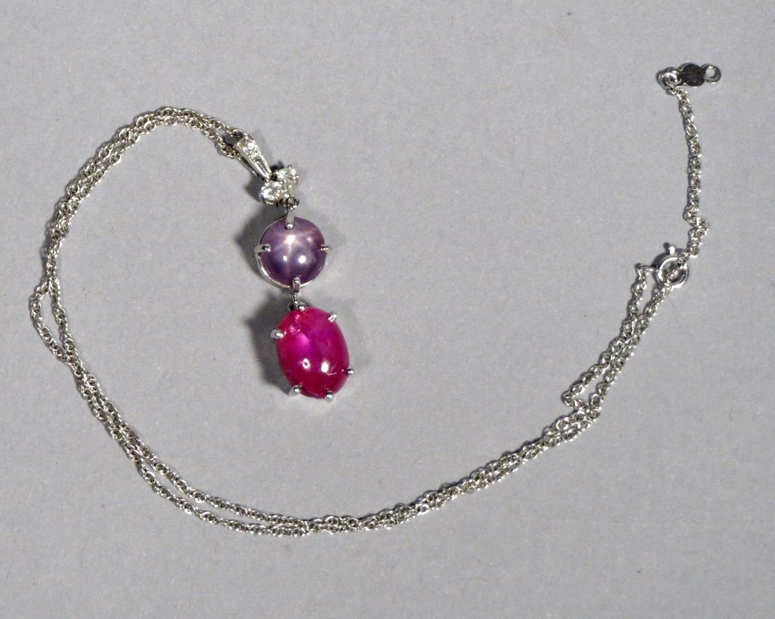 Beautiful Star Ruby & Star Sapphire Pendant Necklace in - 5