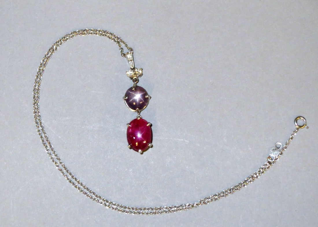 Beautiful Star Ruby & Star Sapphire Pendant Necklace in - 6