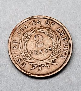 1867 2 Cent United State Coin, Error Coin