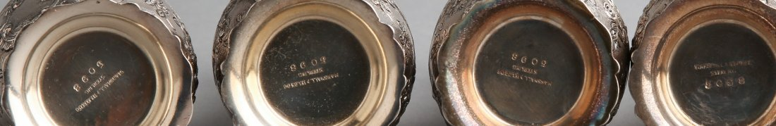 c1920 Sterling Repousse Salt & Pepper Shakers, Marshall - 2