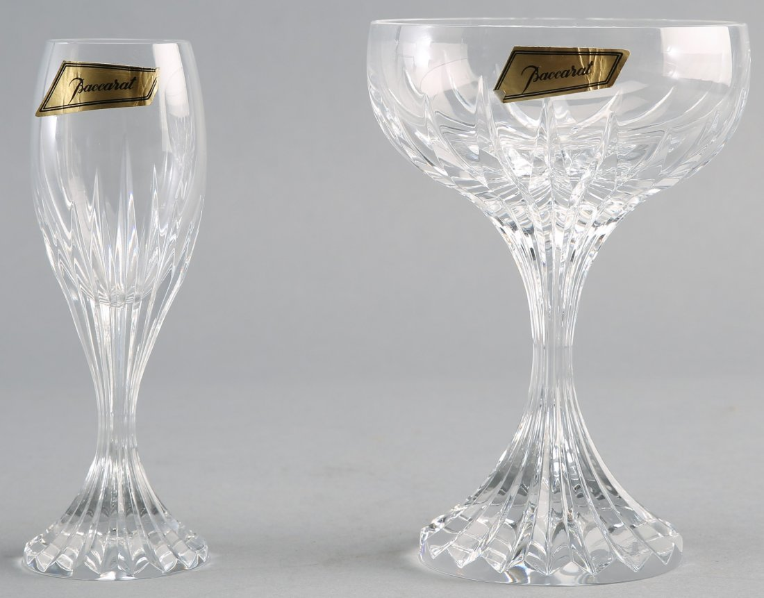 Pair of Baccarat Cordial & Champagne Glasses in Massena