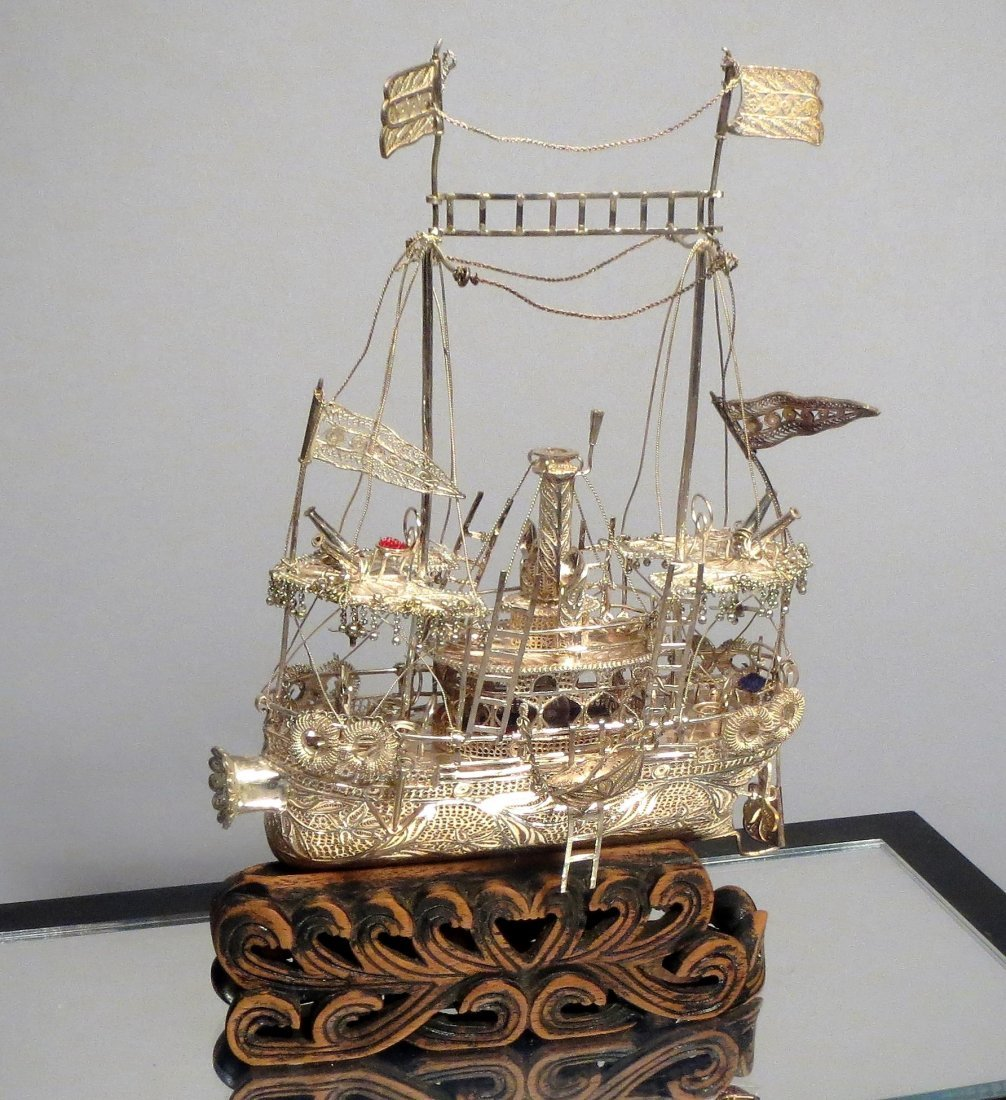 .999 Silver Filigree Wire Ship Carved Base Chinese - 2