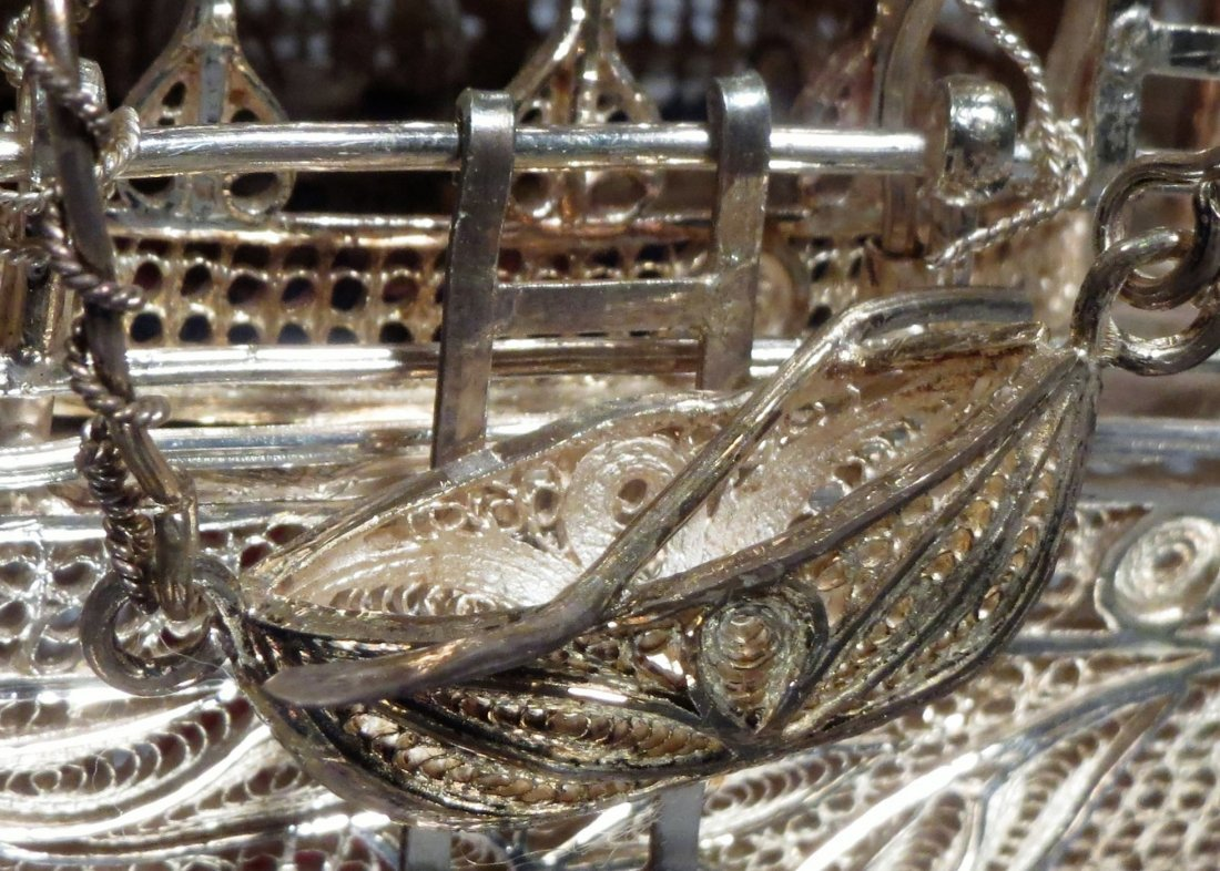 .999 Silver Filigree Wire Ship Carved Base Chinese - 6