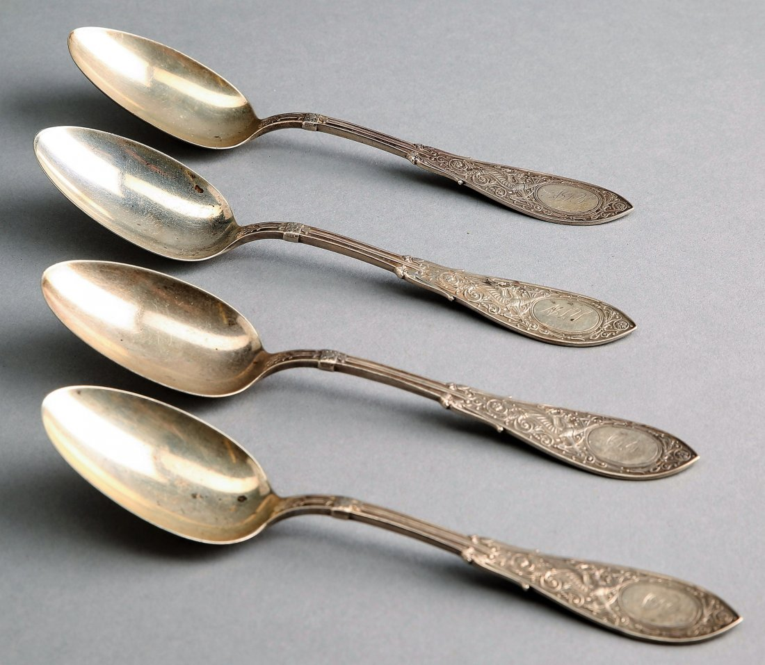 """1875 Whiting 4 Sterling Tablespoons, """"Arabesque"""""""