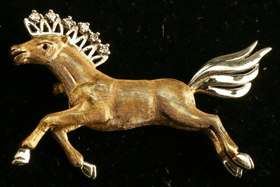 Mid Century 14K Yellow/White Gold Diamond Horse Brooch