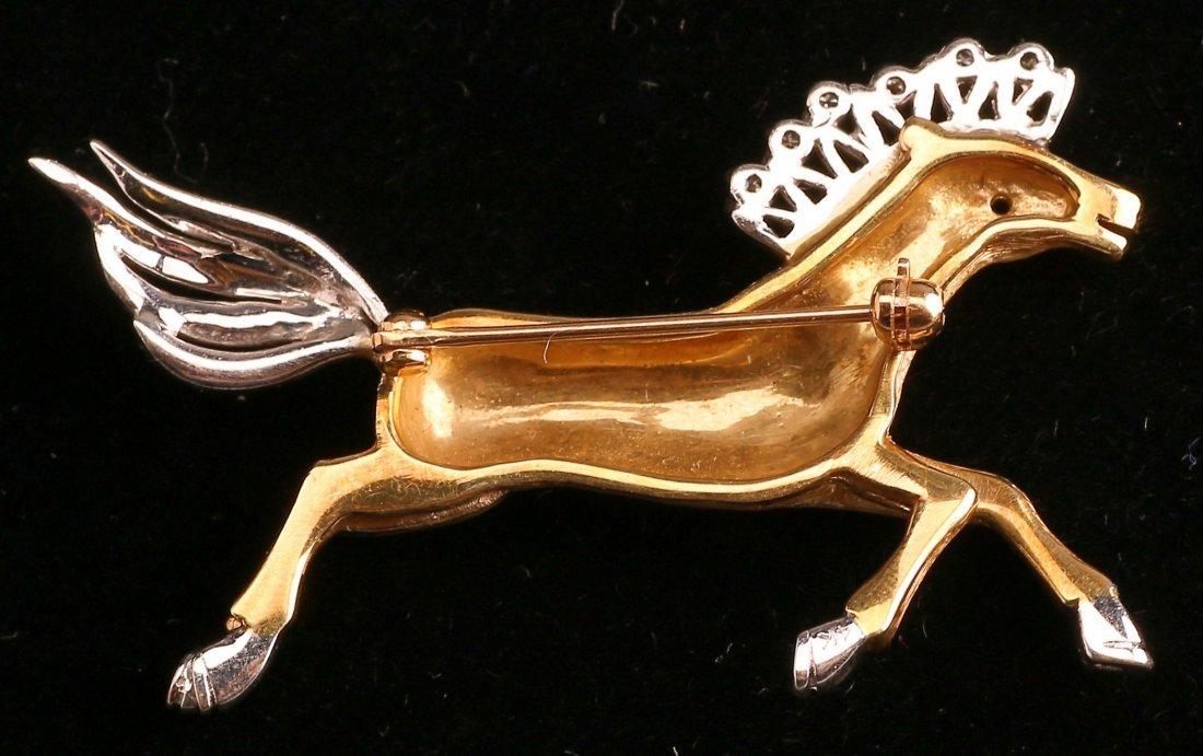 Mid Century 14K Yellow/White Gold Diamond Horse Brooch - 2