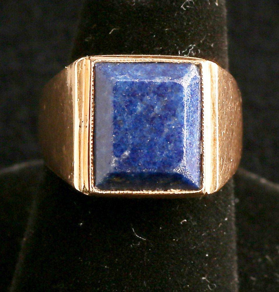 Vintage 14K Gold Lapis Men's Ring