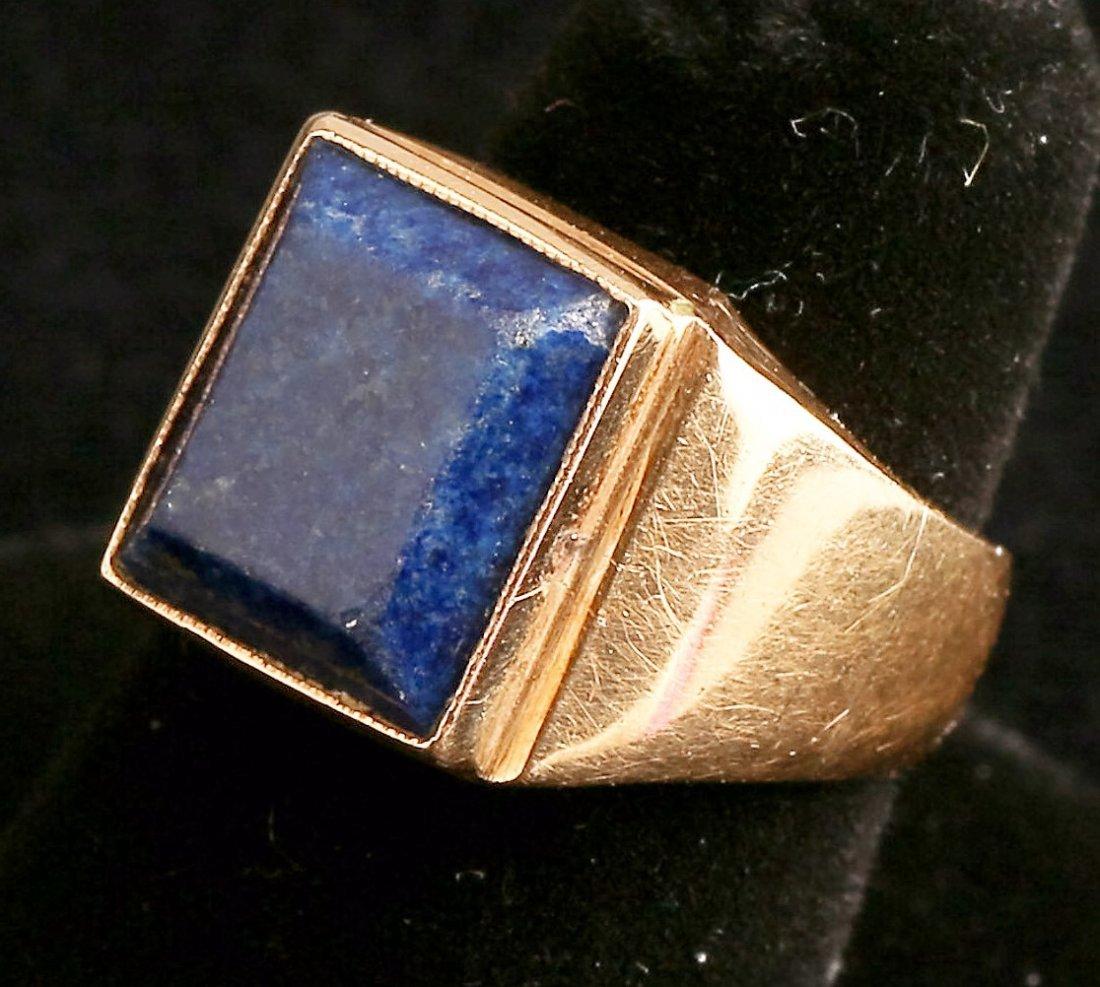 Vintage 14K Gold Lapis Men's Ring - 2
