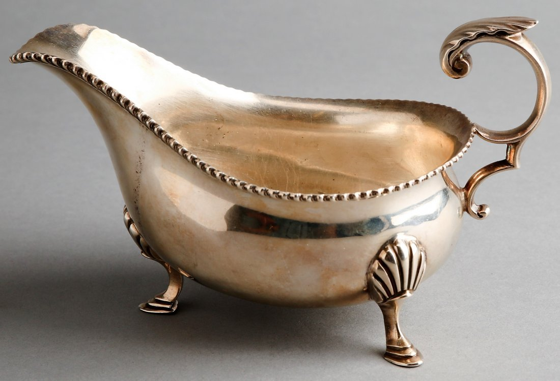 1899 George Hape English Sterling Silver Gravy Boat