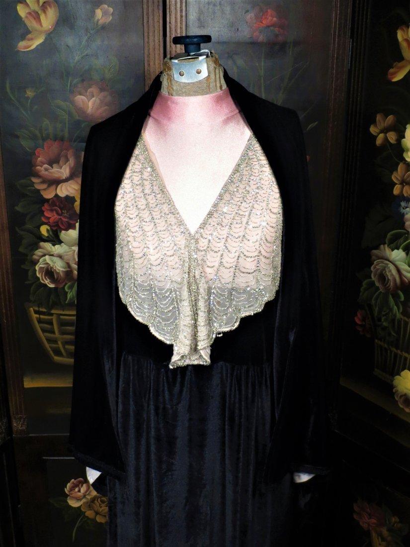 c1930 Black Velvet Flapper Dress, Sheer Cream Nylon