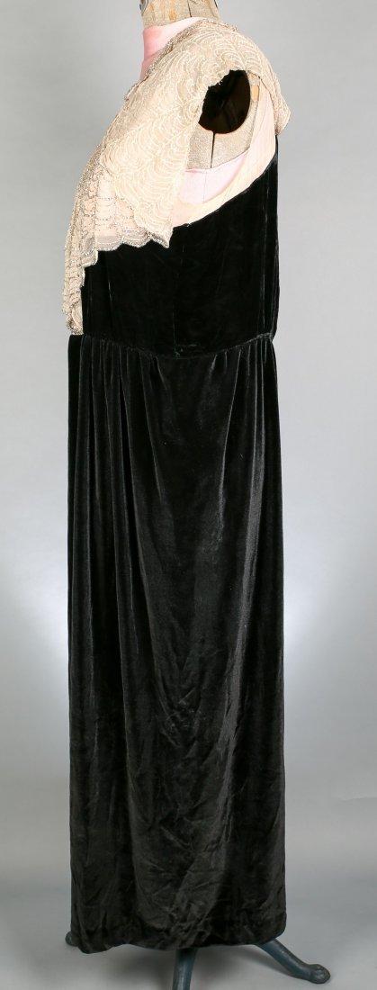 c1930 Black Velvet Flapper Dress, Sheer Cream Nylon - 2