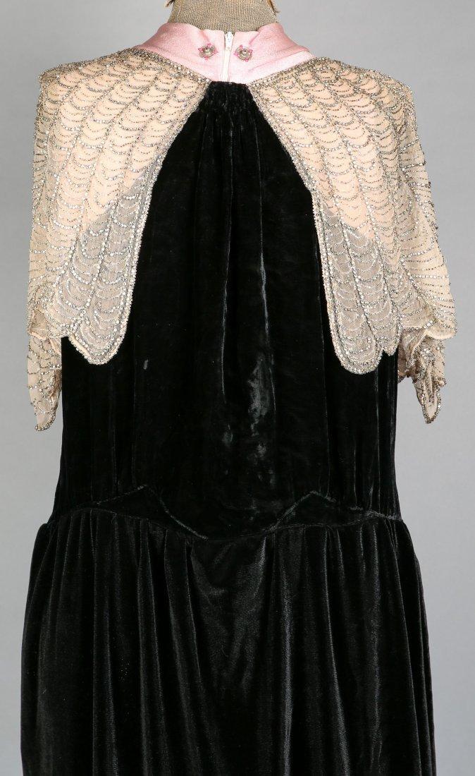 c1930 Black Velvet Flapper Dress, Sheer Cream Nylon - 3