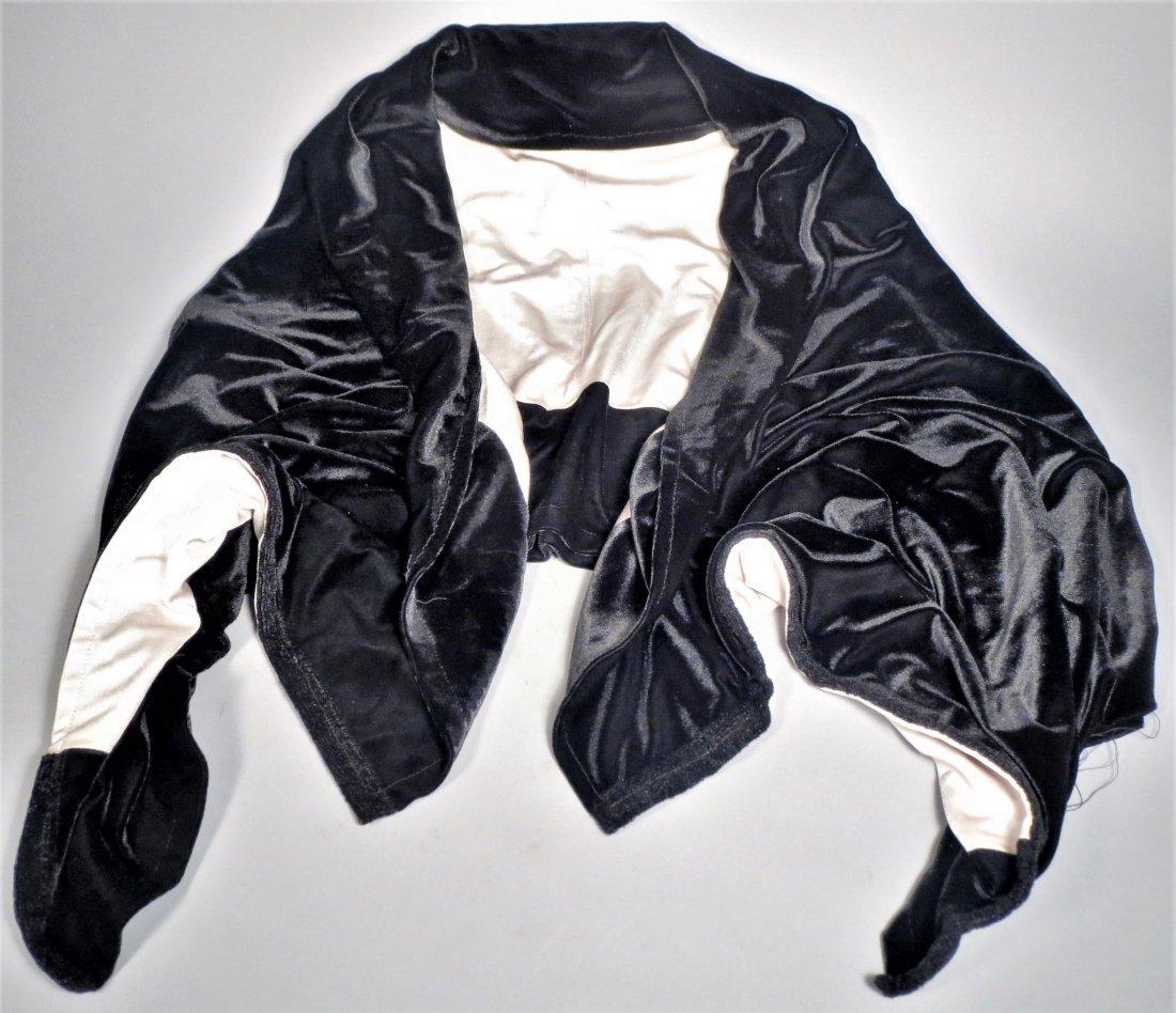 c1930 Black Velvet Flapper Dress, Sheer Cream Nylon - 5