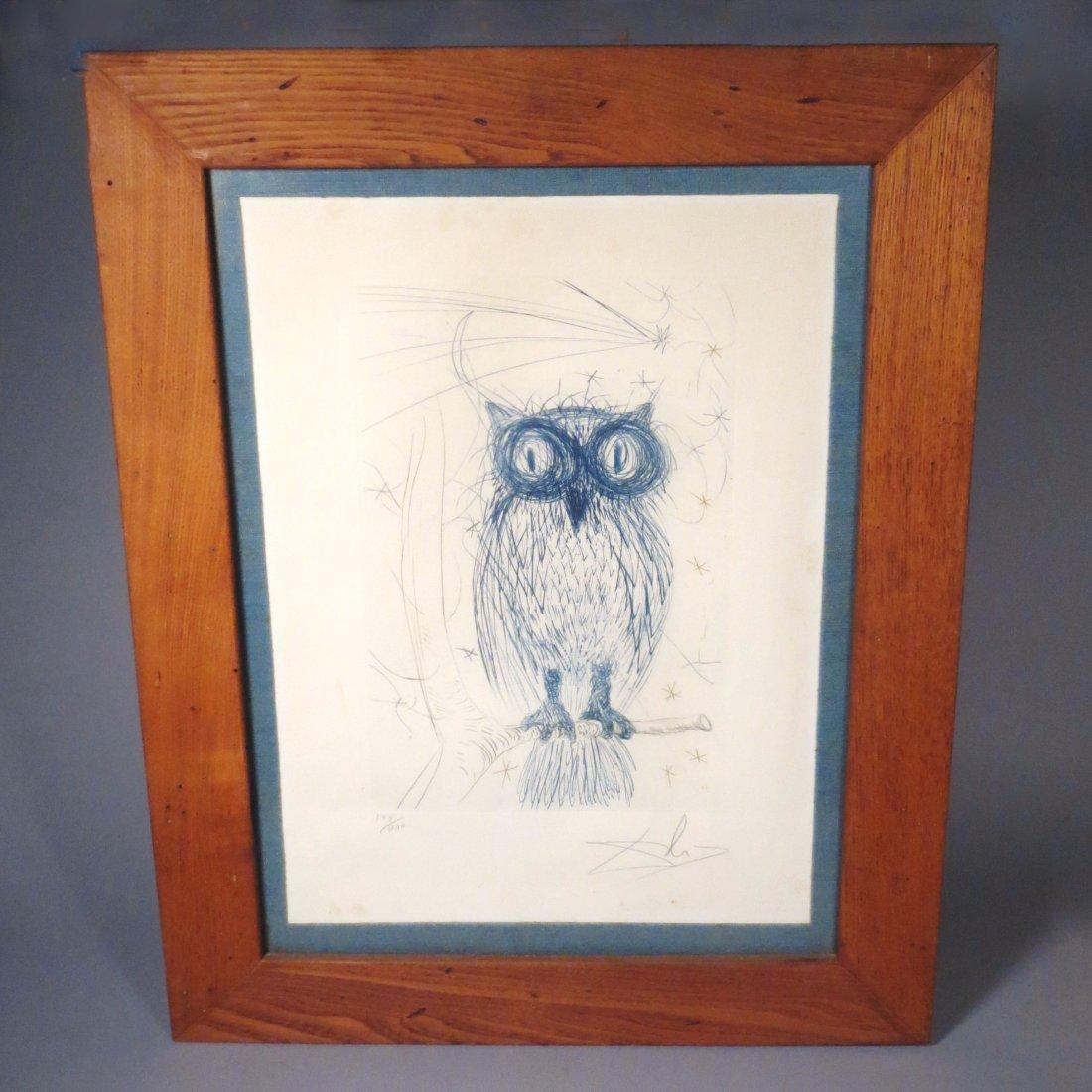 Dali La Chouette Bleue (The Blue Owl) drypoint Signed