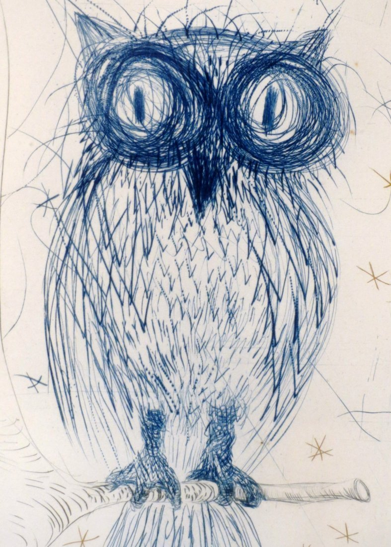 Dali La Chouette Bleue (The Blue Owl) drypoint Signed - 2