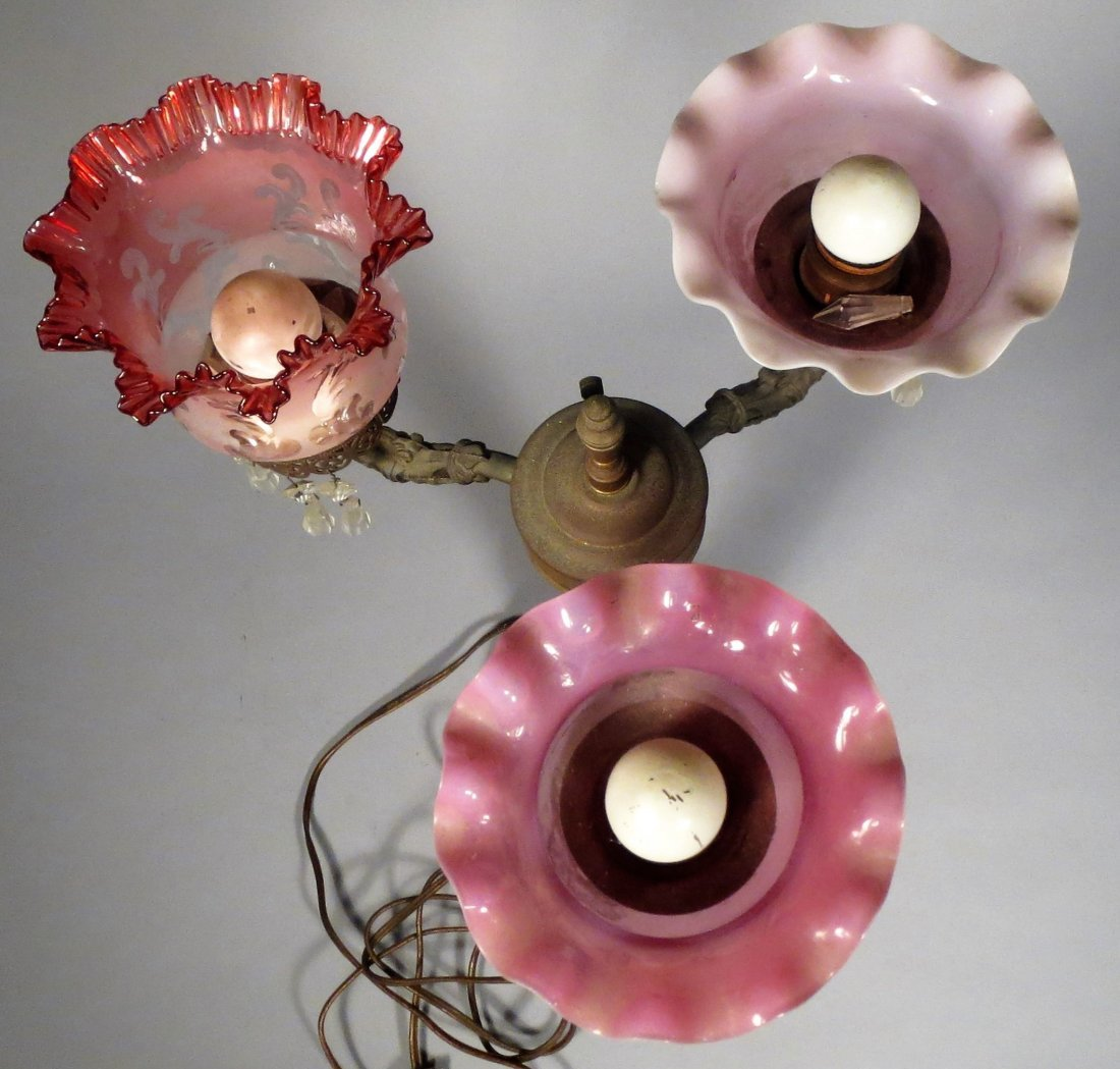 Beautiful Antique Lamp, Cranberry Glass Shades, Crystal - 9