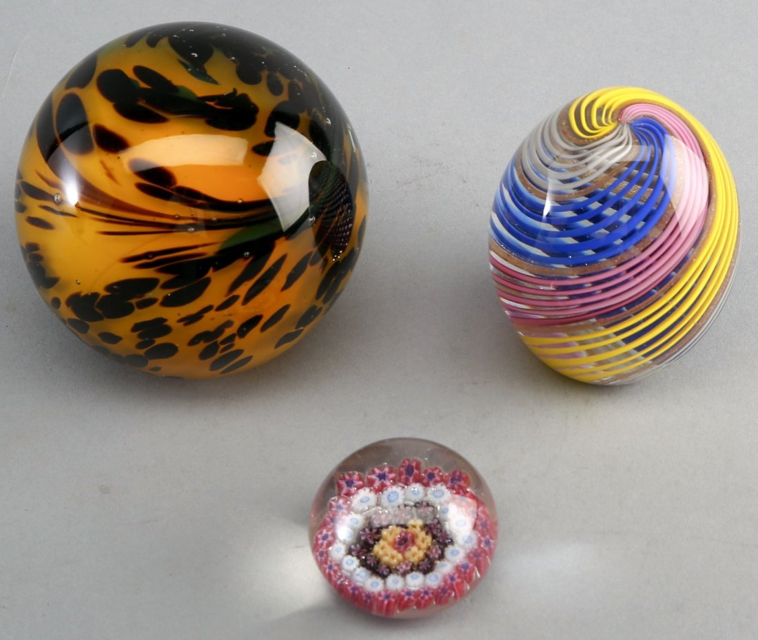 Vintage Three Piece Lot, Glass Paperweights