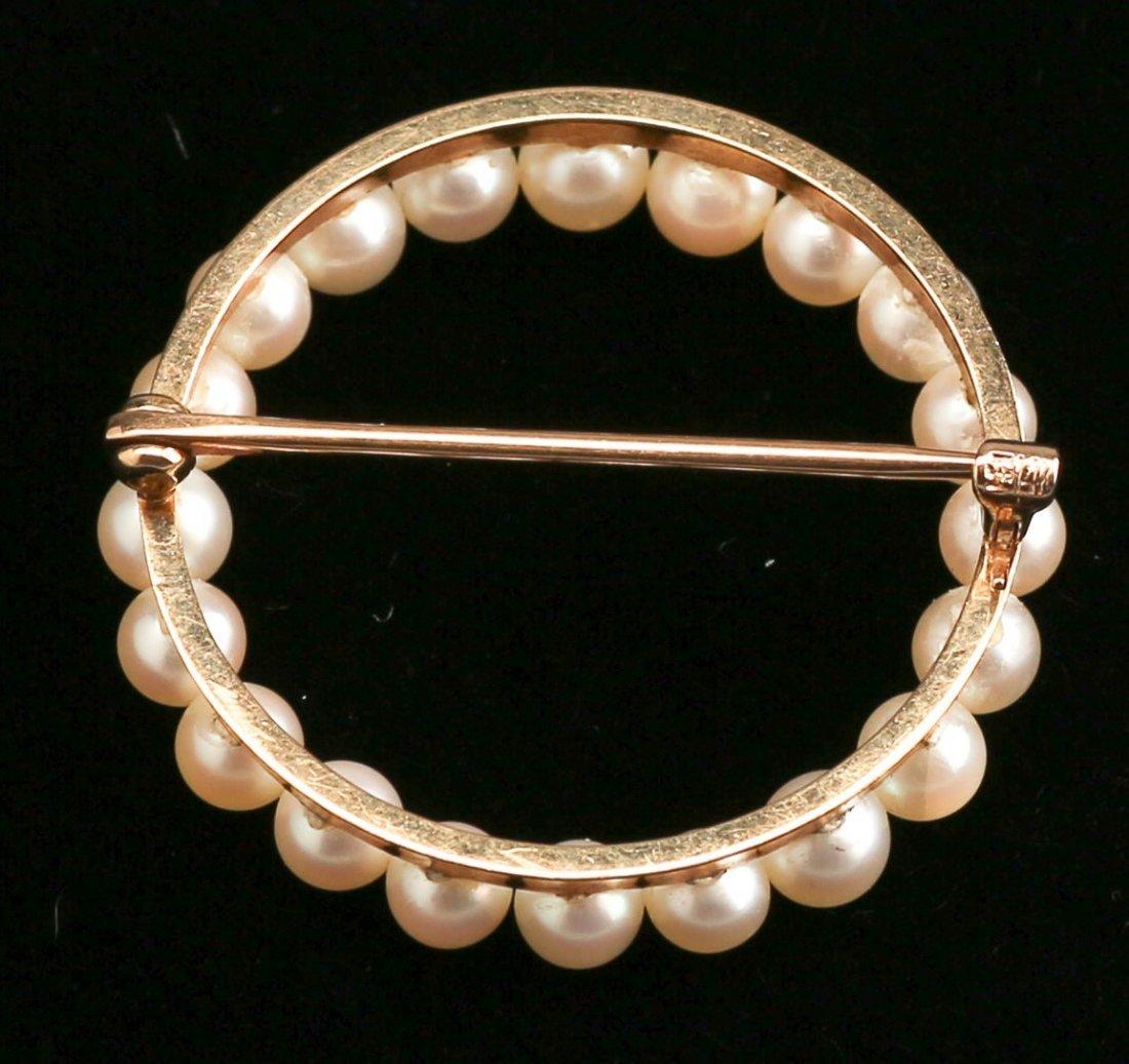14K Pearl Circle Brooch - 2