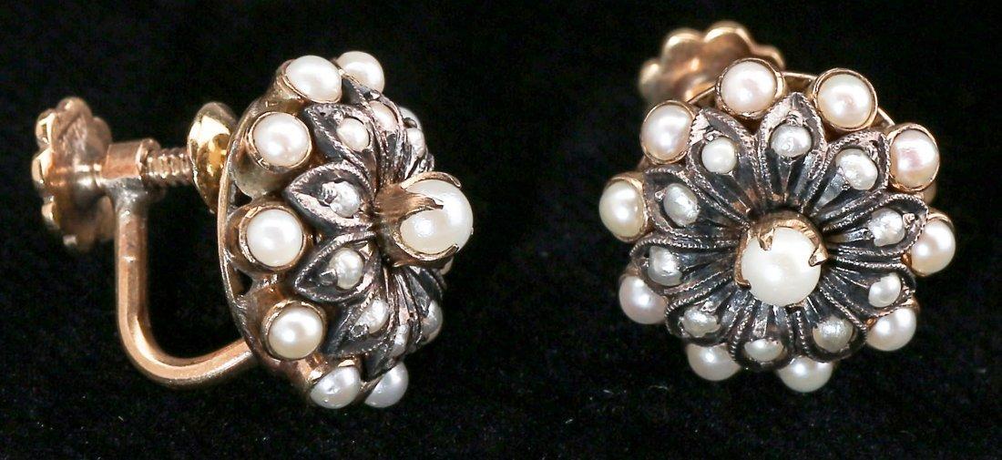c1905 Edwardian 10K Gold, Seed Pearl Screwback Earrings