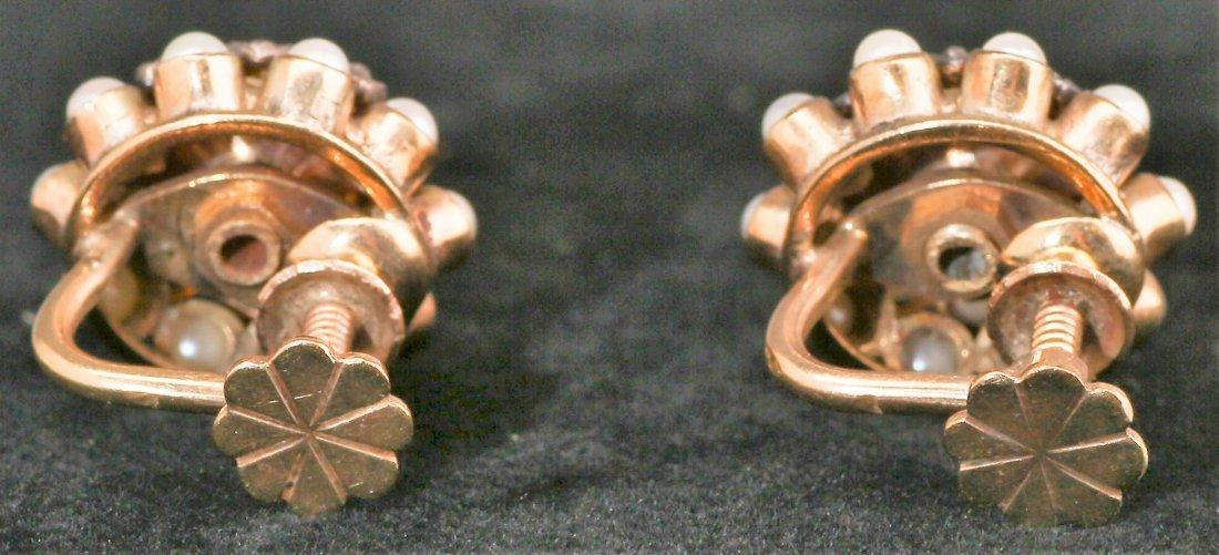c1905 Edwardian 10K Gold, Seed Pearl Screwback Earrings - 2