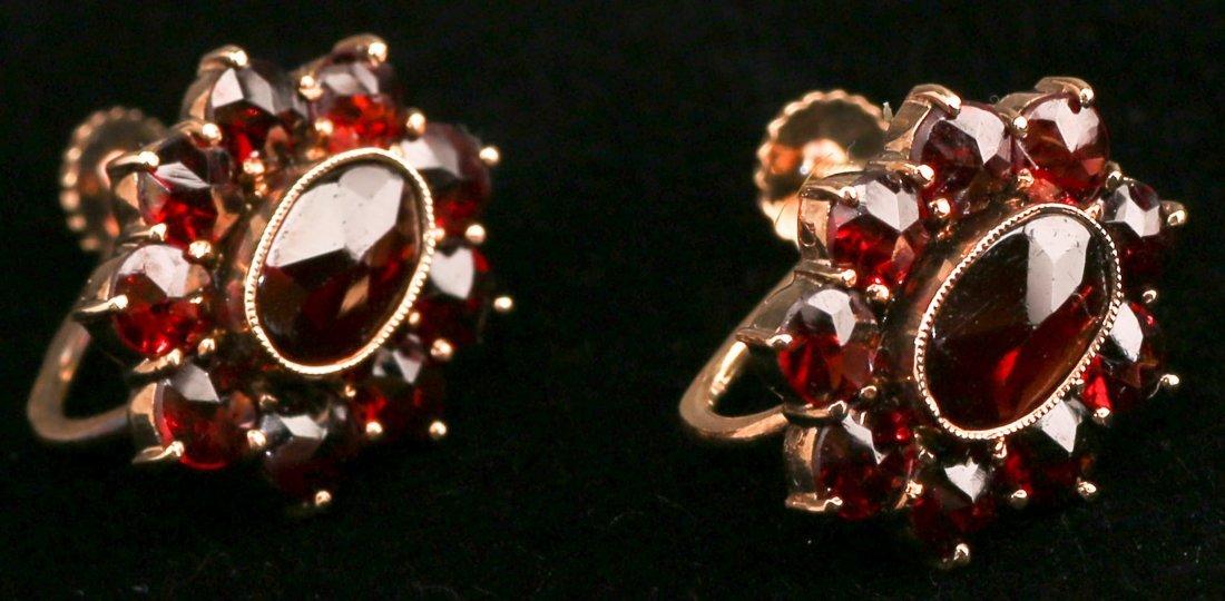 Antique European 14K Garnet Screwback Earrings
