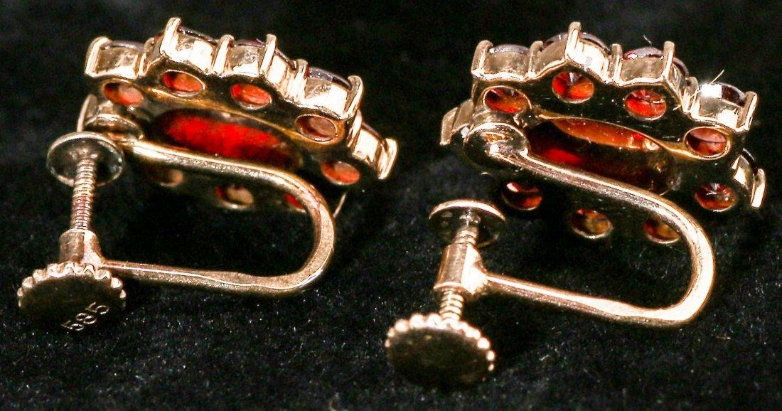 Antique European 14K Garnet Screwback Earrings - 2