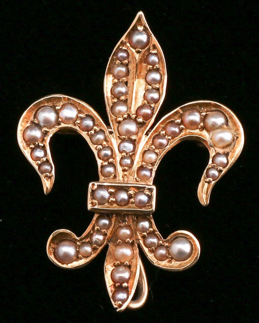 Antique 14K Gold, Seed Pearl Fleur De Lis Brooch
