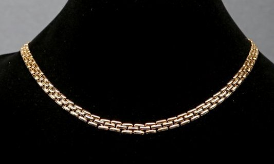 18K Yellow Gold Stylized Panther Chain Necklace
