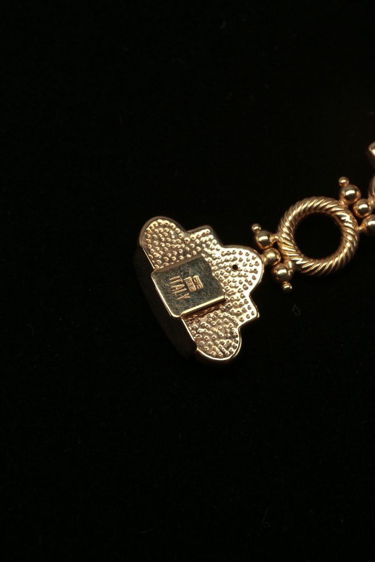 18K Yellow Gold Bracelet and Earrings Set - 4
