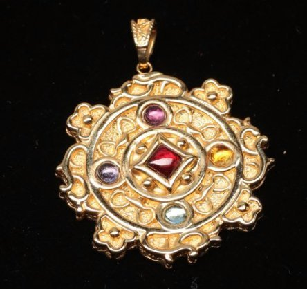 14K Yellow Gold Multi-Stone Pendant