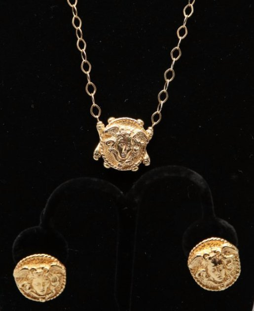 14KT Yellow Gold Gorgon Medusa Earrings and Necklace