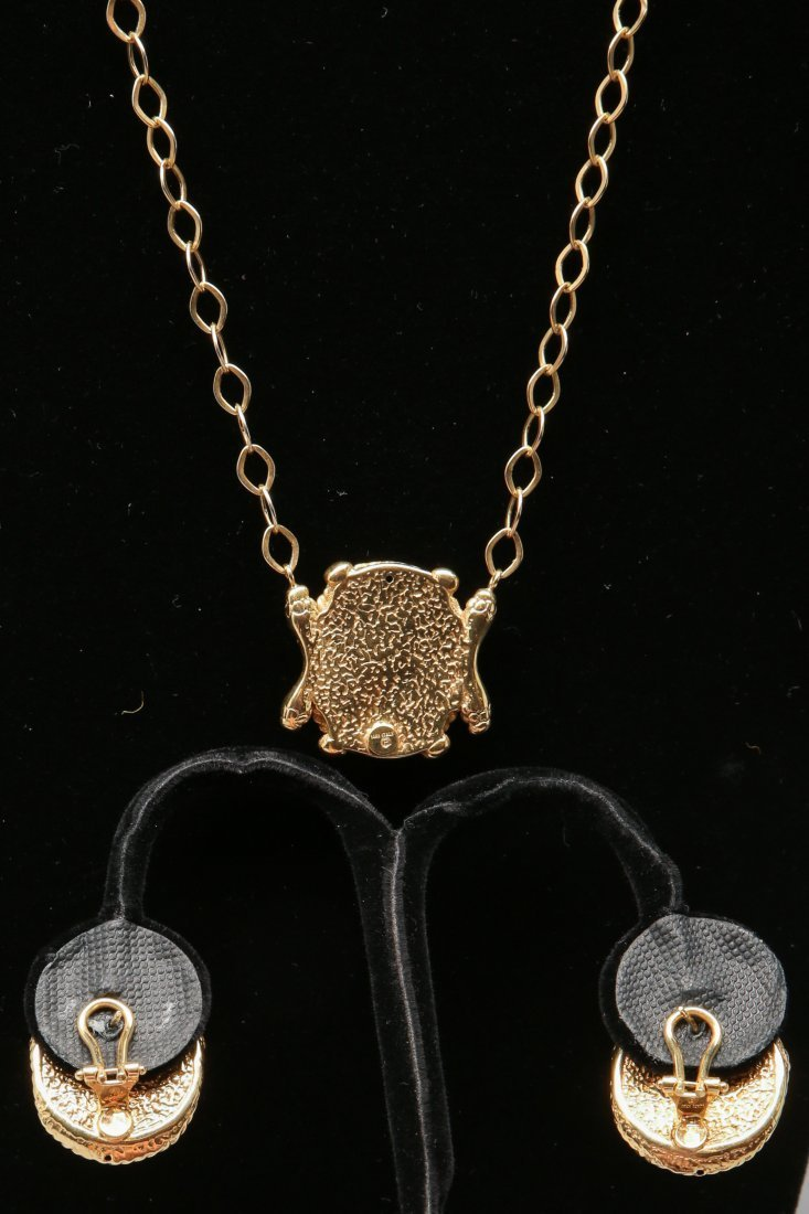 14KT Yellow Gold Gorgon Medusa Earrings and Necklace - 2
