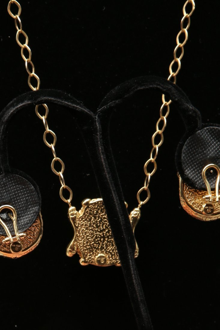 14KT Yellow Gold Gorgon Medusa Earrings and Necklace - 3
