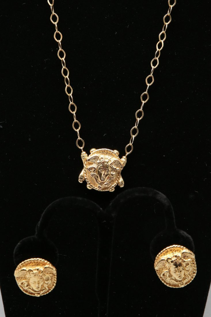 14KT Yellow Gold Gorgon Medusa Earrings and Necklace - 4