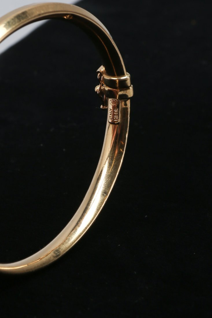 18K Yellow Gold Hinged Bangle Bracelet - 2
