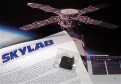 NASA Skylab Poster w Piece of Skylab COA