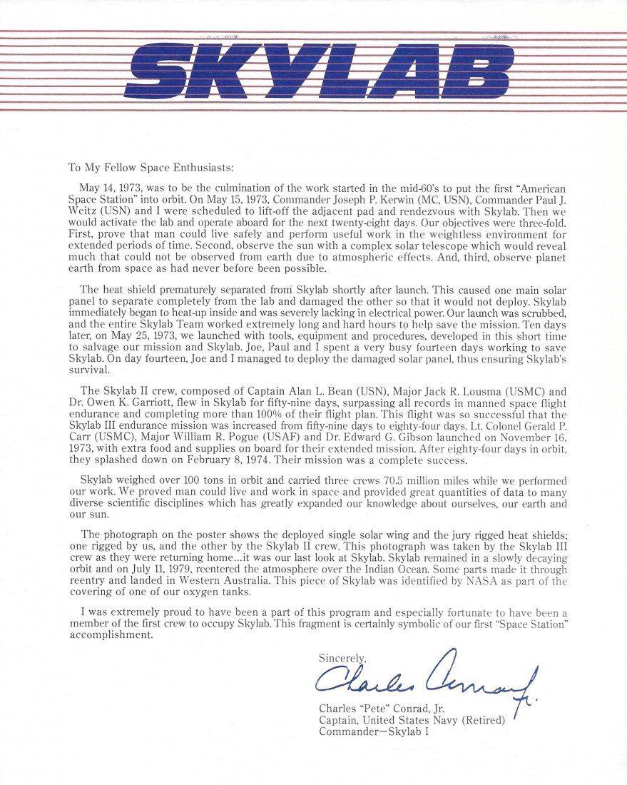 NASA Skylab Poster w/ Piece of Skylab COA - 3