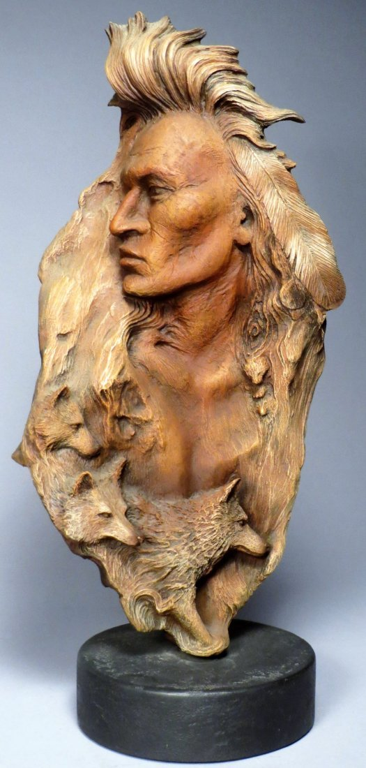 """Rick Cain \""""WOLF PRINCE\"""" Sculpture Signed & Numbered"""