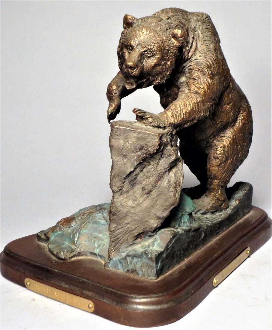 Signed Grizzly Bear Bronze Sculpture Lorenzo Ghiglieri