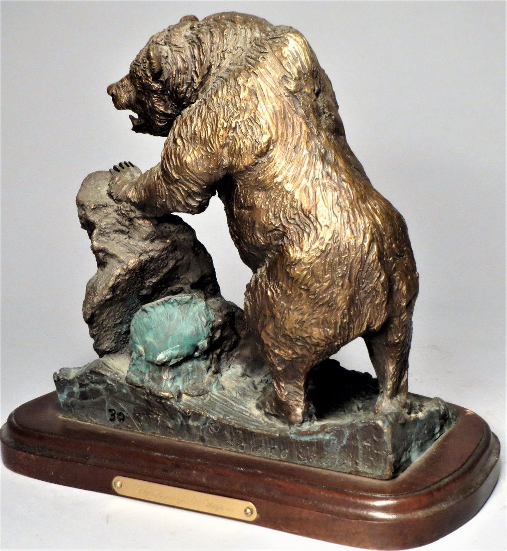 Signed Grizzly Bear Bronze Sculpture Lorenzo Ghiglieri - 5