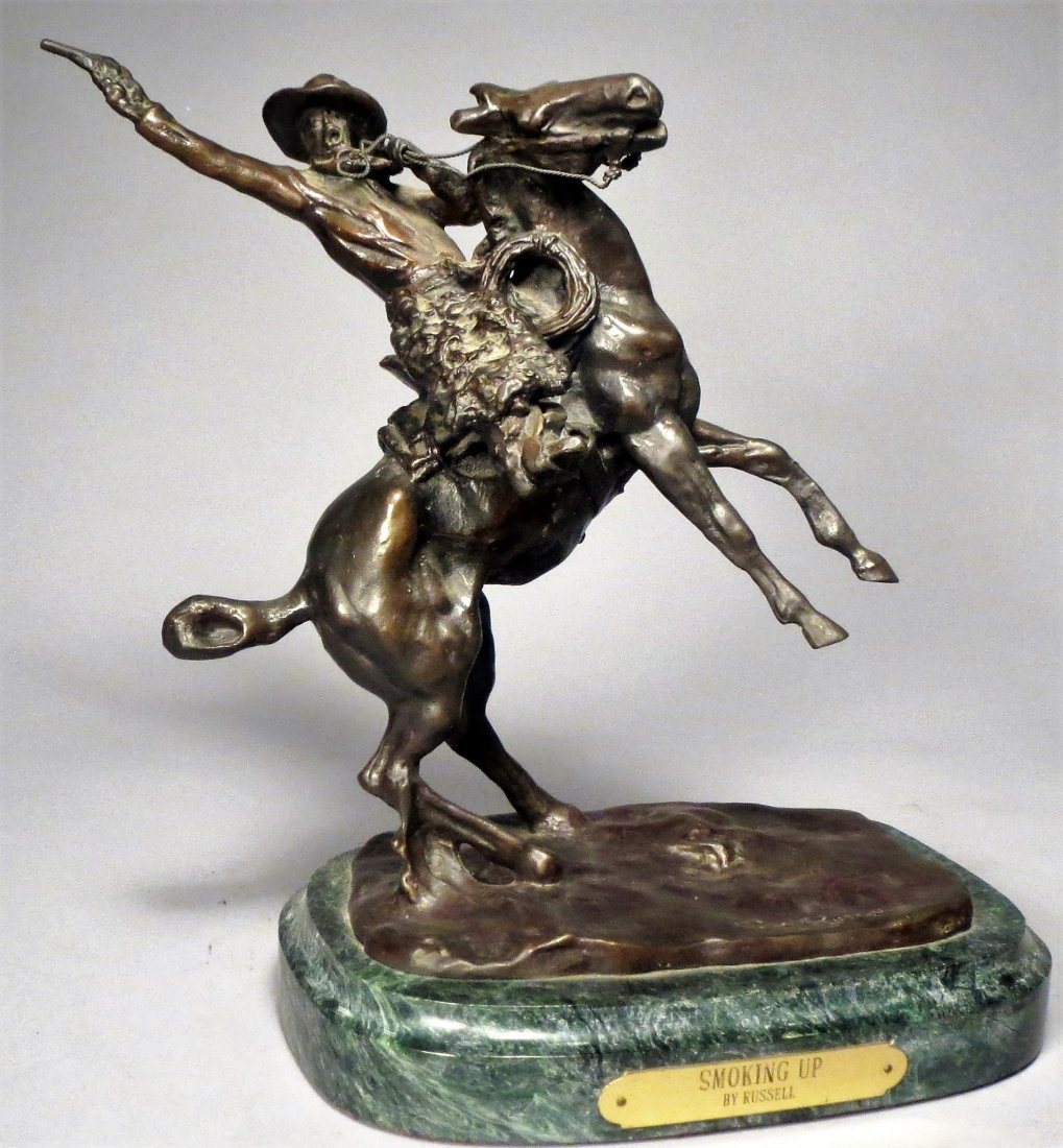 C.M. Russell Smoking Up Bronze