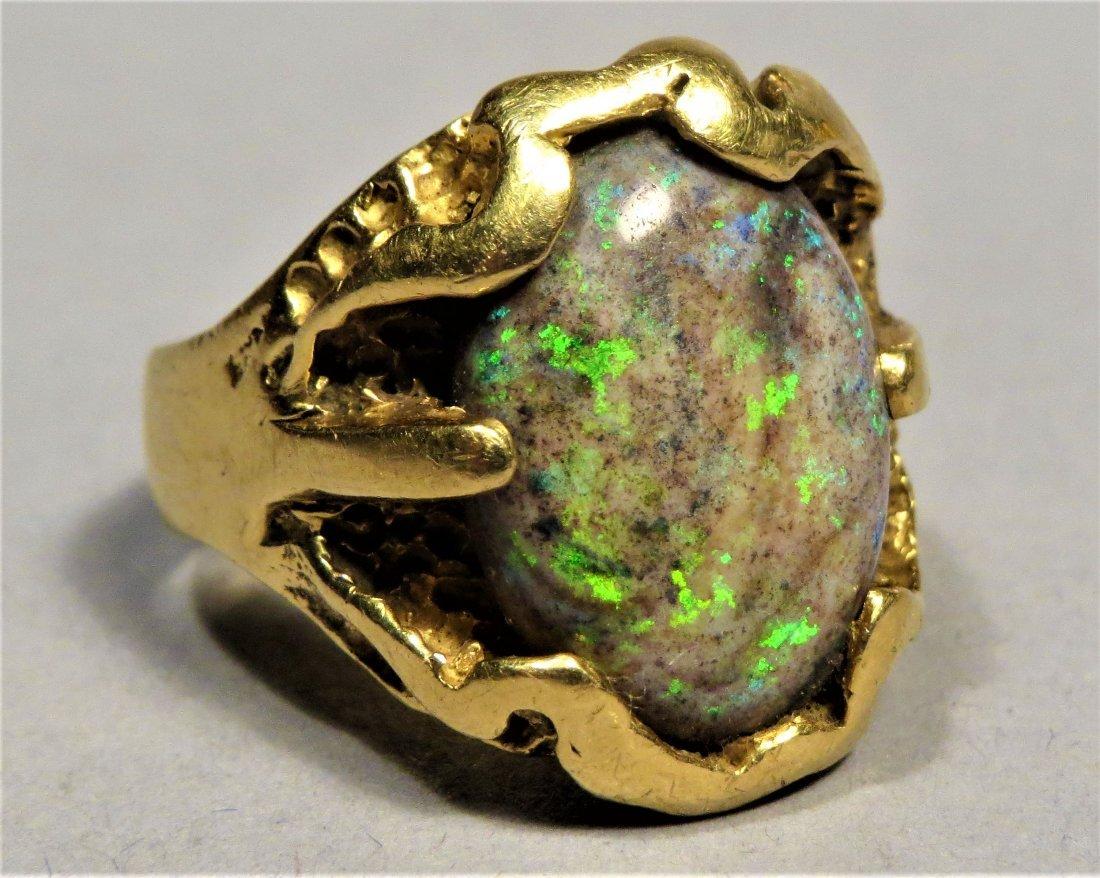 Vintage Men's Beautiful Boulder Opal & 18K Gold Ring