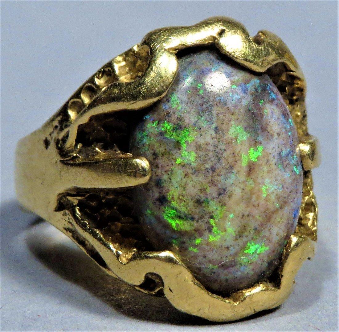 Vintage Men's Beautiful Boulder Opal & 18K Gold Ring - 2