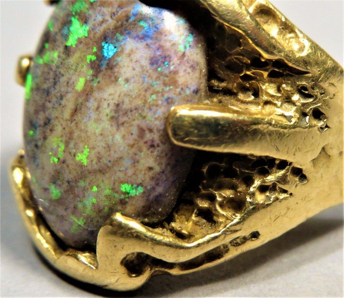 Vintage Men's Beautiful Boulder Opal & 18K Gold Ring - 5