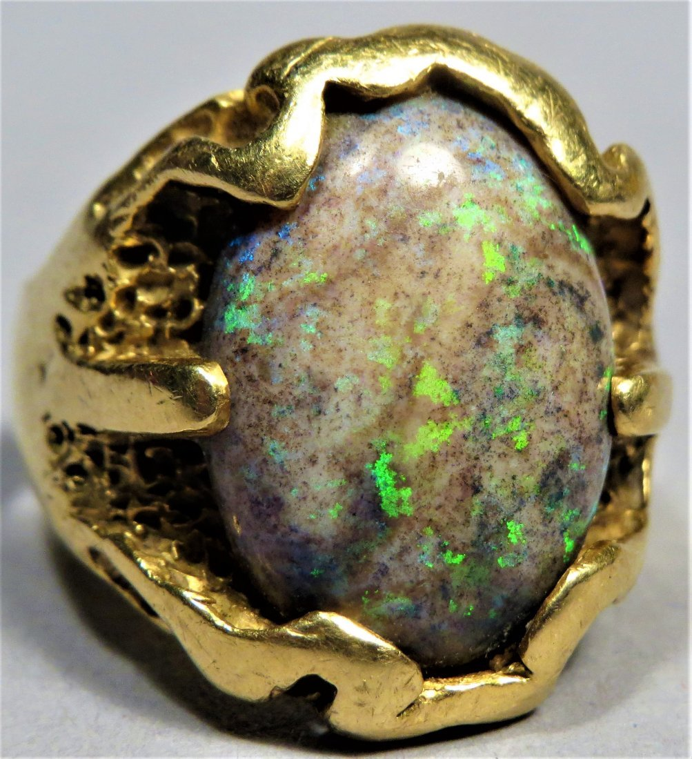 Vintage Men's Beautiful Boulder Opal & 18K Gold Ring - 6